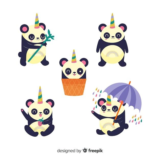 Kolekcja znaków cute jednorożca kawaii Darmowych Wektorów