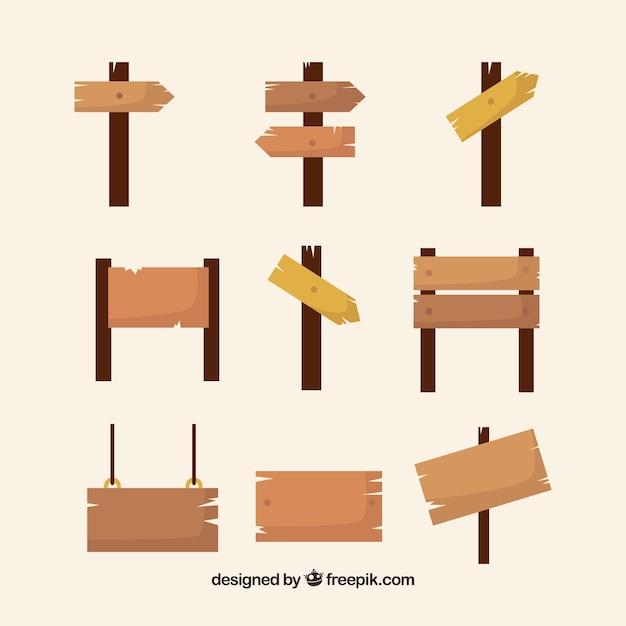 Kolekcja Znaków Drewnianych Darmowych Wektorów