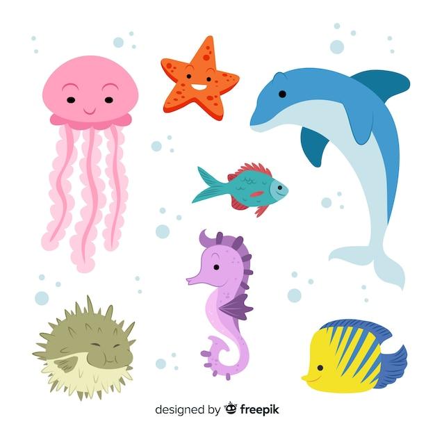 Kolekcja Znaków życia Morskiego Darmowych Wektorów