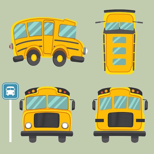 Kolekcja żółtego autobusu szkolnego. mają widok z przodu i widok z tyłu oraz widok z góry na autobus szkolny. Premium Wektorów