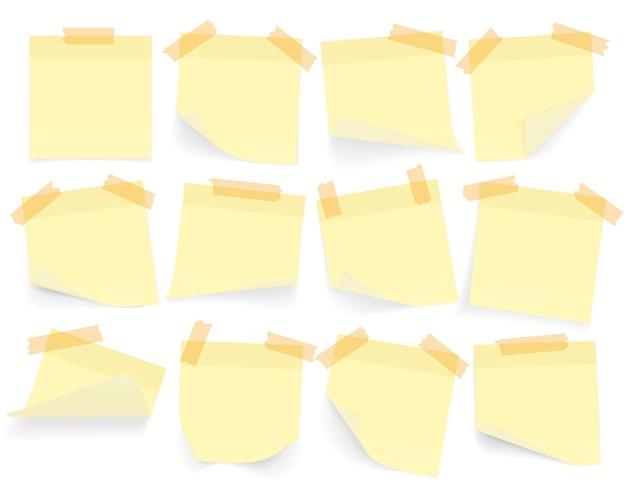 Kolekcja żółtych Kartek Z Zawiniętym Rogiem I Cieniem, Gotowych Do Przesłania Wiadomości. Realistyczny. Na Białym Tle Zestaw. Premium Wektorów