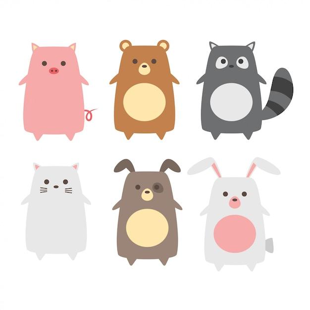 Kolekcja zwierząt cute baby Premium Wektorów