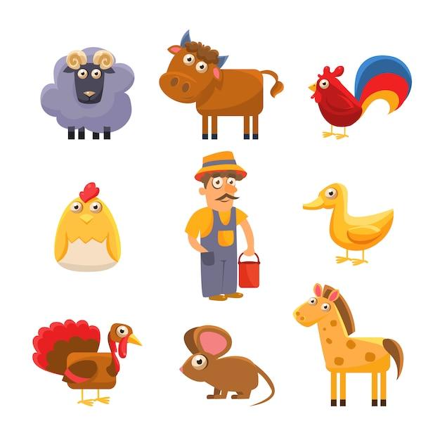 Kolekcja Zwierząt Hodowlanych. Zestaw Kolorowych Ilustracji Premium Wektorów