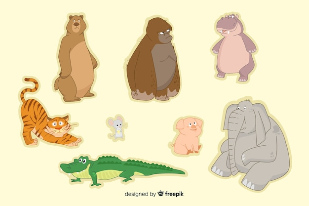Kolekcja zwierząt kreskówka płaski projekt Darmowych Wektorów