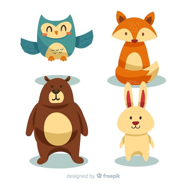 Kolekcja zwierząt kreskówki z powrotem do szkoły Darmowych Wektorów