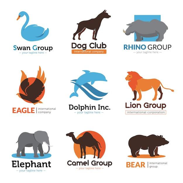 Kolekcja zwierząt logo płaskie symbole z orłem niedźwiedź wielbłąda i pies godło klub streszczenie ilustracji wektorowych na białym tle Darmowych Wektorów