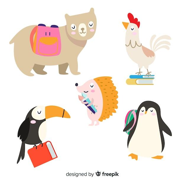 Kolekcja zwierząt na imprezę szkolną Darmowych Wektorów