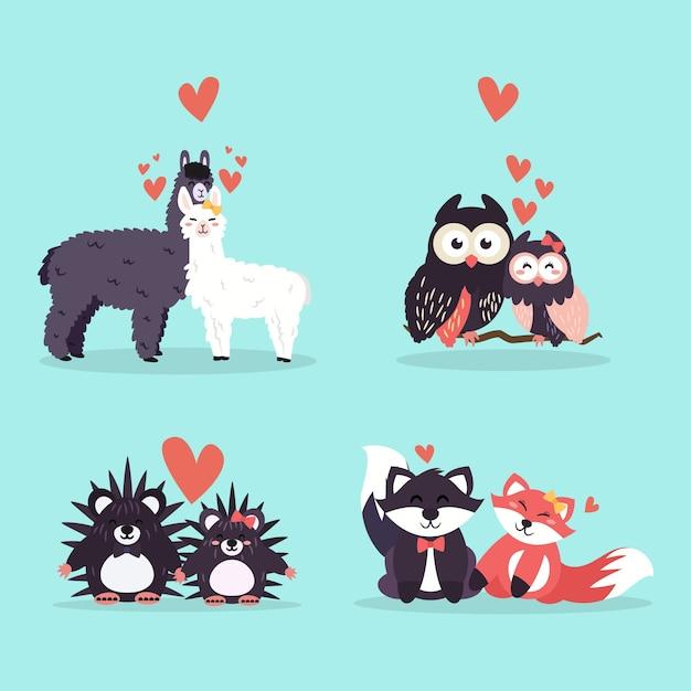 Kolekcja Zwierząt Para Walentynki Darmowych Wektorów