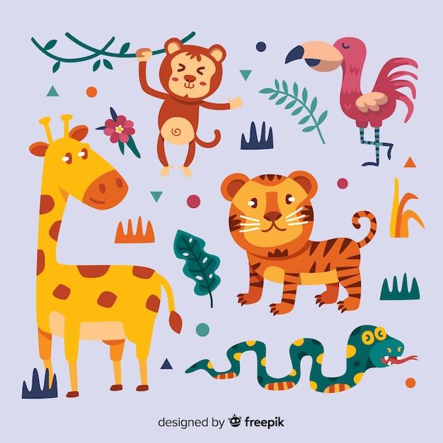 Kolekcja Zwierząt Tropikalnych Płaska Konstrukcja Darmowych Wektorów