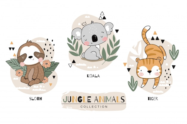 Kolekcja Zwierząt W Dżungli. Lenistwo Z Postaciami Z Kreskówek Koala I Tygrys. Ręka Rysująca Ikona Projekta Ustalona Ilustracja. Premium Wektorów
