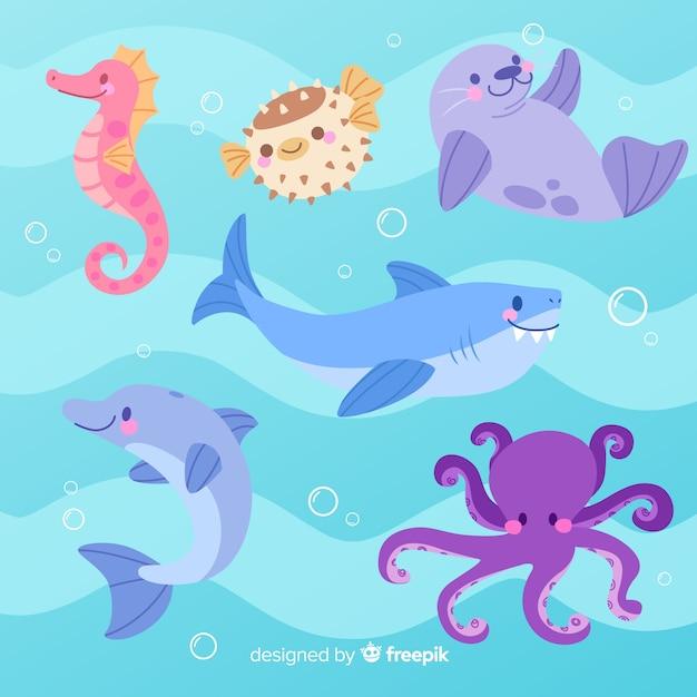 Kolekcja zwierząt w stylu dziecięcym Darmowych Wektorów