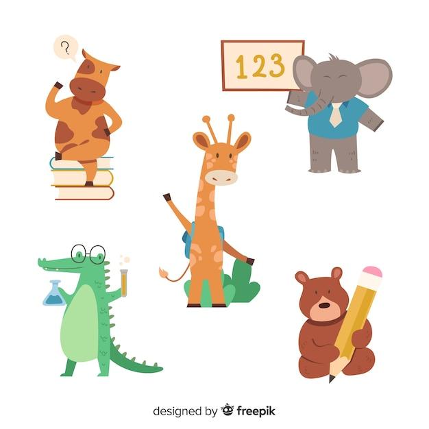 Kolekcja Zwierząt Z Powrotem Do Szkoły Darmowych Wektorów