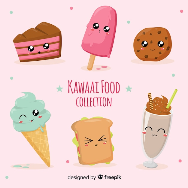 Kolekcja żywności kawaii Darmowych Wektorów