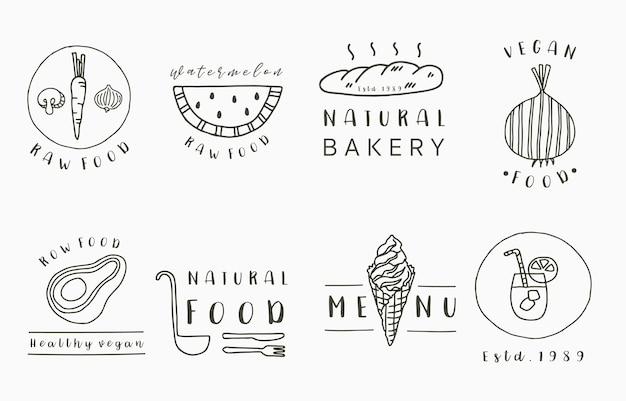 Kolekcja żywności Z Cebulą, Chlebem, Awokado, Arbuzem. Premium Wektorów