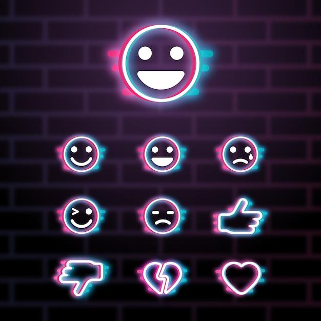 Kolekcje Emoji Glitch Premium Wektorów