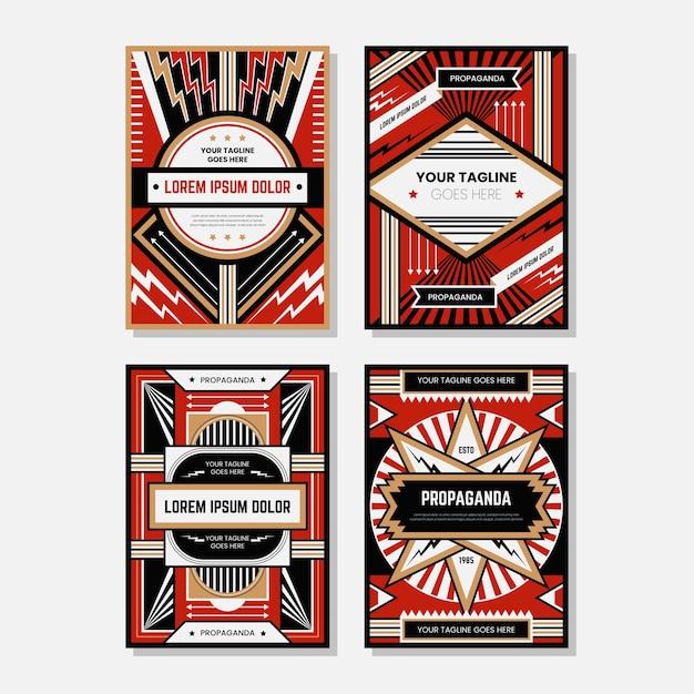 Kolekcje kolorowych szablonów plakatów propagandowych Premium Wektorów