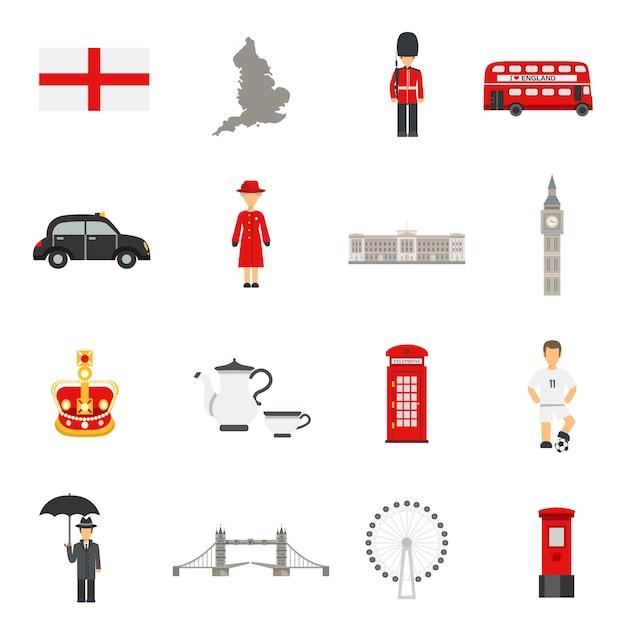 Kolekcje płaskich ikon kultury angielskiej Darmowych Wektorów