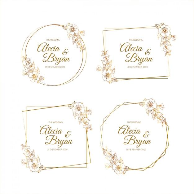 Kolekcje szablonu zaproszenia ślubne złote ramki Premium Wektorów