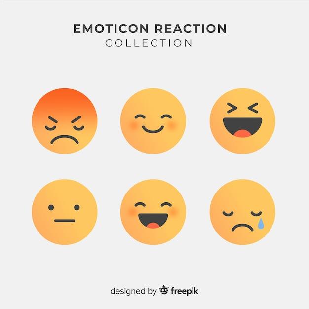 Kolekcjonowanie reakcji płaskich emotikon Darmowych Wektorów