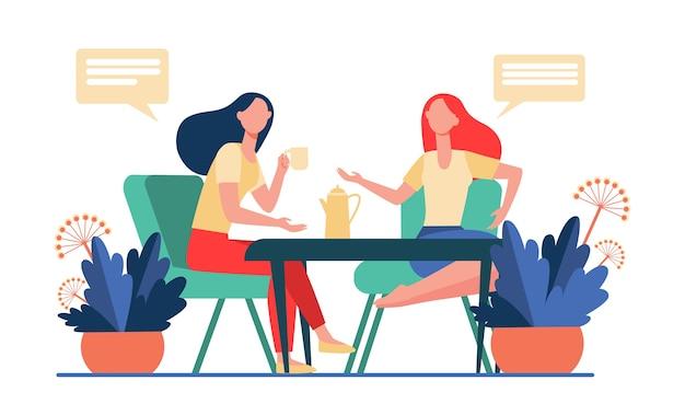 Koleżanki Spotkanie Przy Filiżance Kawy. Kobiety Piją Herbatę I Rozmawiają Płaski Wektor Ilustracja. Komunikacja, Koncepcja Przyjaźni Darmowych Wektorów