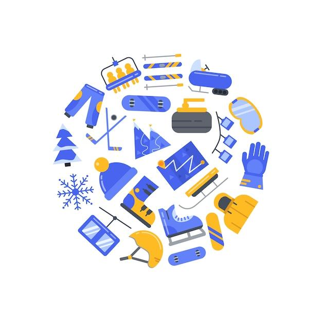 Koło Elementów Sportów Zimowych Premium Wektorów