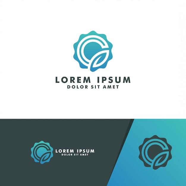 Koło litera g liść logo szablon logo projekt wektor Premium Wektorów