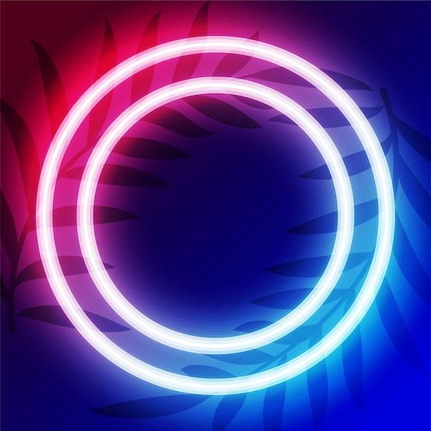 Koło Neon Ramki Z Miejsca Na Tekst Darmowych Wektorów