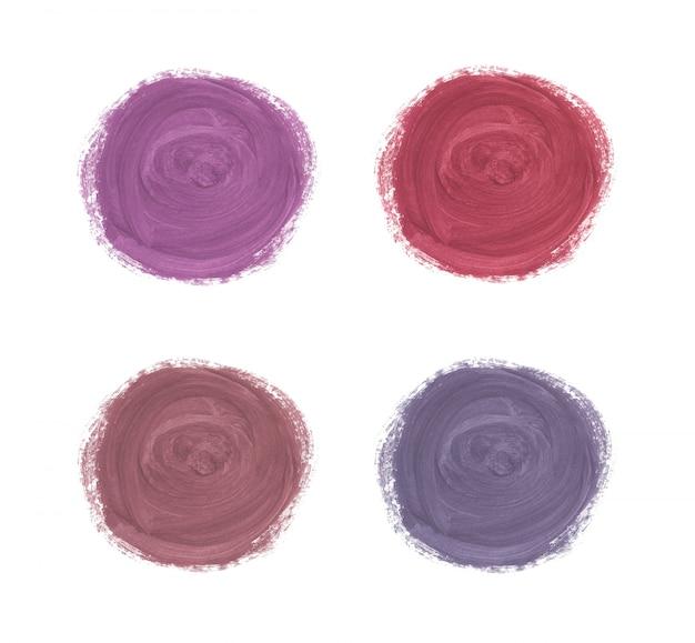 Koło Pędzla Obrysu Akwarela Tekstury. Myjnie W Kolorze Różowego Złota, Czerwieni I Fioletu. Premium Wektorów