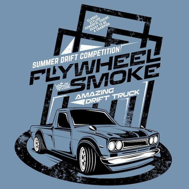 Koło zamachowe dym niesamowite drift truck, ilustracja driftu konkurencji konkurencji Premium Wektorów