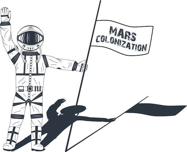 Kolonizacja Marsa. Astronauta Na Planecie. Kolorowy Plakat, Ilustracja Premium Wektorów