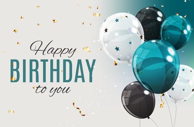 Kolor Balony Z Okazji Urodzin Szczęśliwy Błyszczący Ilustracja Premium Wektorów