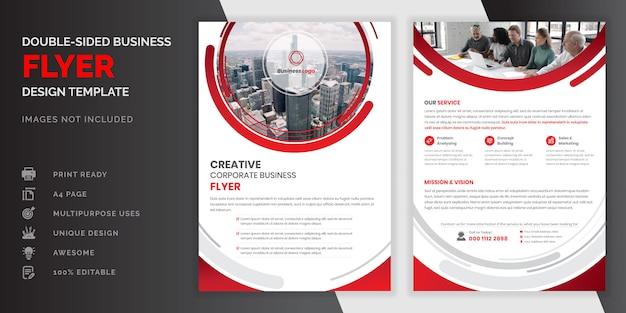Kolor Czerwony Streszczenie Kreatywnych Nowoczesny Profesjonalny Dwustronna Ulotka Biznes Premium Wektorów