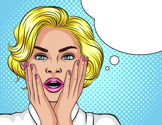 Kolor ilustracji w stylu pop-art. blondynka otworzyła usta ze zdziwienia. piękna kobieta w szoku. Premium Wektorów