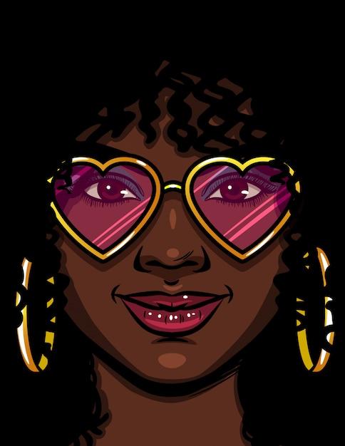 Kolor ilustracji wektorowych african american kobieta w różowych okularach. szczęśliwa kobieta zakochana. twarz pięknej kobiety z makijażem i kręconymi włosami. kobieta z okrągłymi złotymi kolczykami i okularami w kształcie serca Premium Wektorów