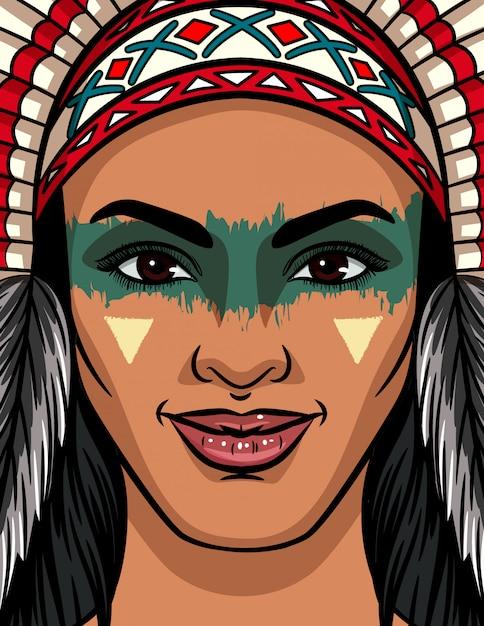 Kolor ilustracji wektorowych twarzy kobiety z plemienia indian. jasny makijaż twarzy i tradycyjny nakrycie głowy u indianki. Premium Wektorów
