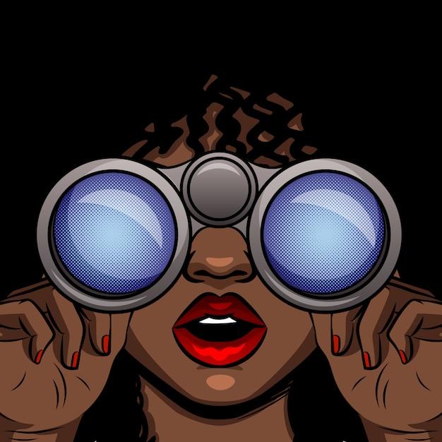 Kolor ilustracji wektorowych w stylu pop-art dziewczyny afroamerykanów, patrząc przez lornetkę. kobieta zaskoczony twarz z otwartymi ustami. dziewczyna z lornetkami w rękach zamyka up Premium Wektorów