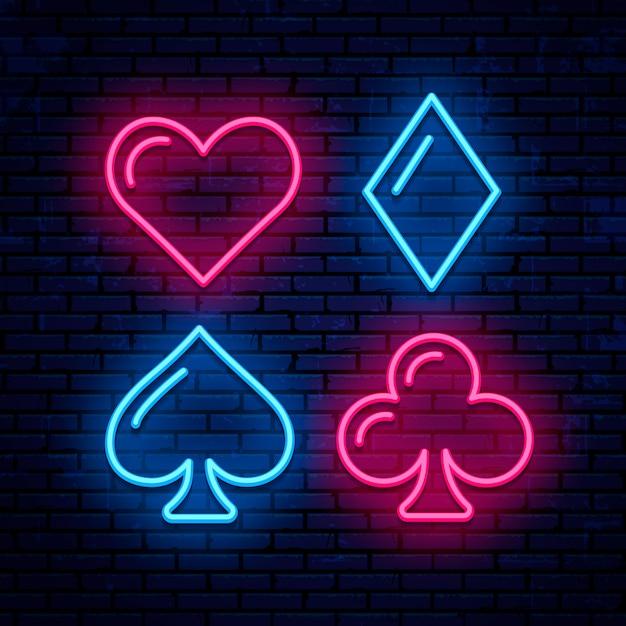 Kolor Kart, Poker, Blackjack, Neonowe Ikony. świecące Szyld Kasyna. Premium Wektorów