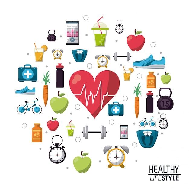 Kolor Plakat Elementy Zdrowego Stylu życia Ikony Premium Wektorów