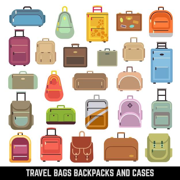 Kolor plecaków i futerałów na torby podróżne Premium Wektorów