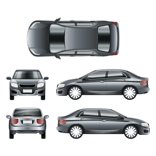Kolor Samochodu Sedan W Różnych Punktach Widzenia Premium Wektorów