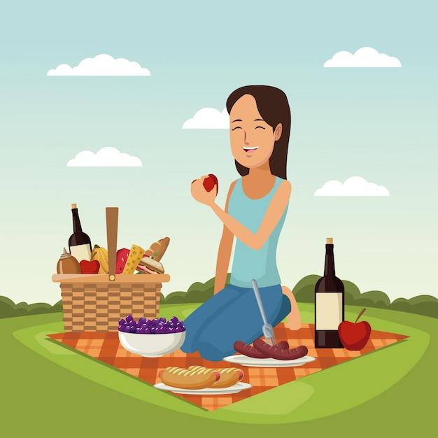 Kolor Sceny Krajobraz Kosz Piknikowy Kobieta Z Jabłkiem Premium Wektorów
