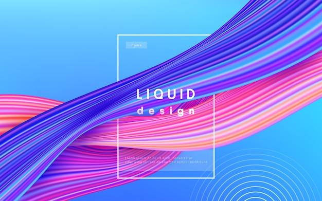 Kolor Tła Fali. Ilustracja Projekt 3d Farby Przepływ Cieczy. Koncepcja Sztuki Geometrycznej Dynamiczny Falisty Kolor Atramentu. Darmowych Wektorów