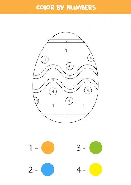 Kolor Wielkanocnego Jajka Rysunkowego Według Liczb. Kolorowanki Dla Dzieci. Premium Wektorów