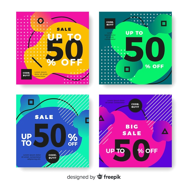 Kolorowa abstrakcjonistyczna sprzedaży instagram poczta kolekcja Darmowych Wektorów