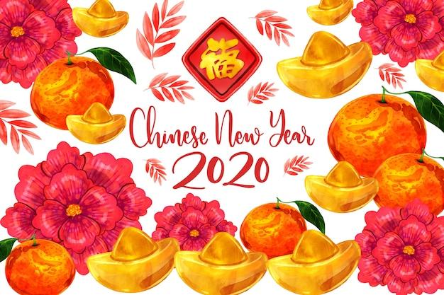 Kolorowa akwarela chiński nowy rok Darmowych Wektorów