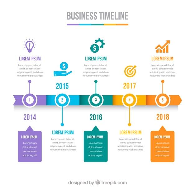 Kolorowa biznesowa linia czasu z płaskim projektem Darmowych Wektorów