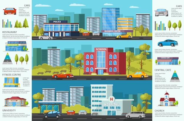 Kolorowa Broszura Miejska Z Nowoczesnymi Budynkami Miejskimi, Zielonymi Drzewami I Samochodami Darmowych Wektorów