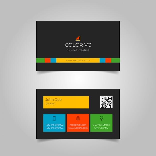 Kolorowa Czarna Wizytówka Premium Wektorów