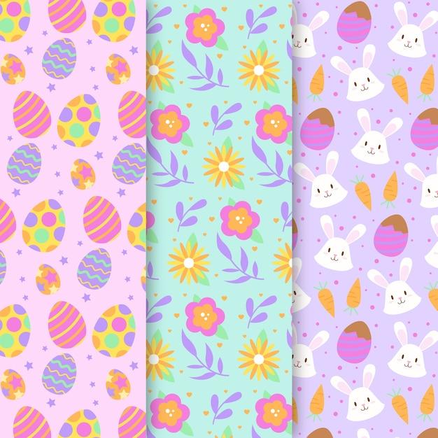 Kolorowa Deseniowa Kolekcja Na Wielkanoc Darmowych Wektorów