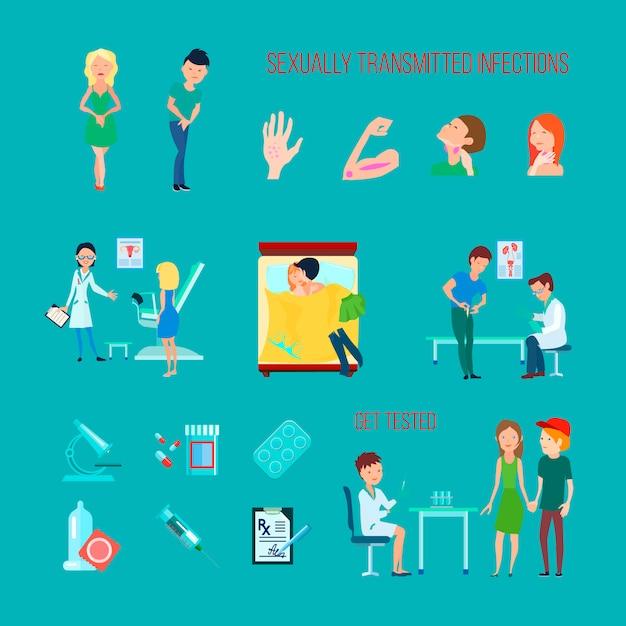 Kolorowa ikona płaskich i izolowanych chorób zdrowia seksualnego z różnymi objawami infekcji Darmowych Wektorów